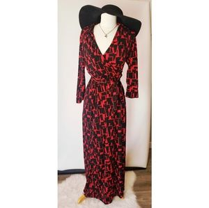 NY Collection Red Black Wrap Maxi Dress